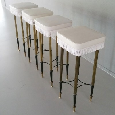 Set of 4 Hollywood Regency Bar Stools, 1950s