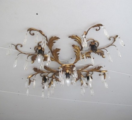 Baroque brass Hollywood Regency style ceiling lamp, 1970s
