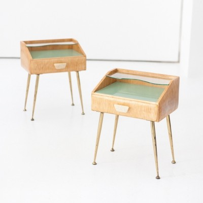 Italian Mid-Century Modern Bedside Tables / Nightstands, 1950s