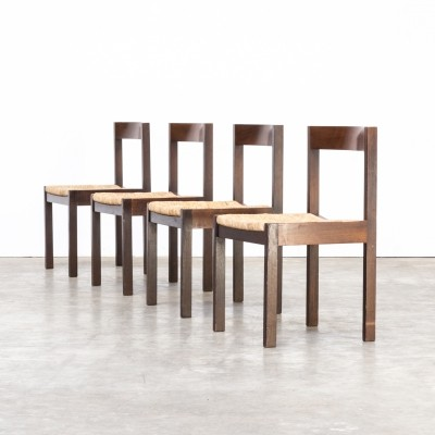 Set of 4 Martin Visser wengé dining chairs for 't Spectrum, 1960s