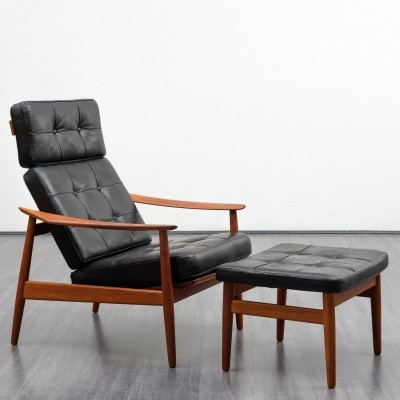 Danish 'model FD-164' armchair & footstool by Arne Vodder for France & Son