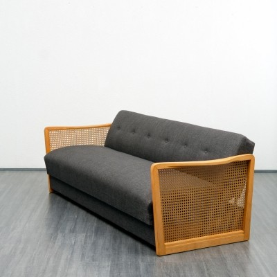 1950s sofa / sofabed with Viennese wicker armrests