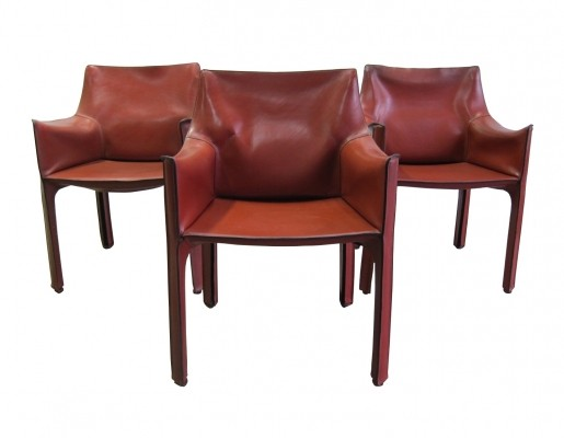 Set of 3 Cassina CAB 413 armchairs by Mario Bellini