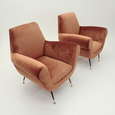 Set of 2 Italian Pink Velvet Armchairs By Gigi Radice for Minotti, 1950s