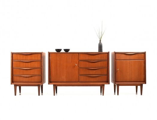 Mid Century Conical Three-Piece Sideboard in Teak, 1950s