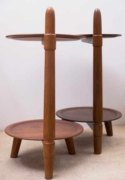 Set of 2 side tables in wood, 1960s