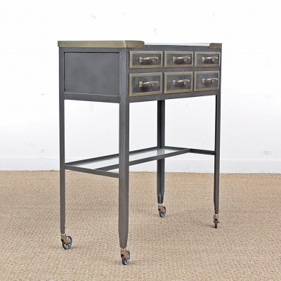 Medical console made of metal & opaline, circa 1940