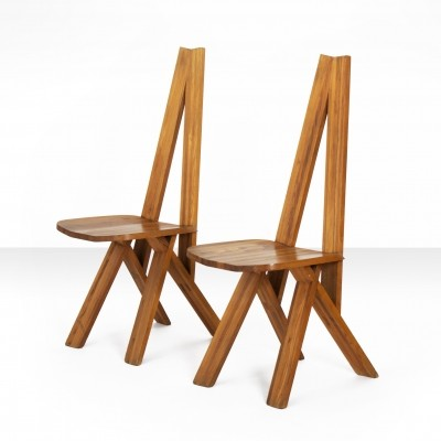 Pair of Pierre Chapo s45 'Chlacc' Chairs in Solid Elm, France 1970s