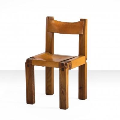 6 x Pierre Chapo S11 Chairs in Solid Elm & cognac leather, France 1960s