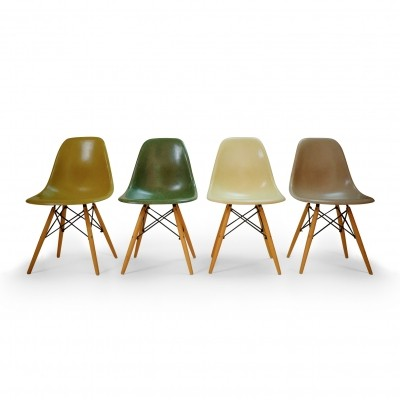 Set of four Eames Herman Miller DSW Chairs