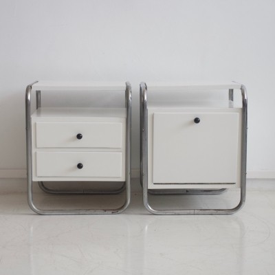 Pair of White Side Tables with Tubular Steel Frame