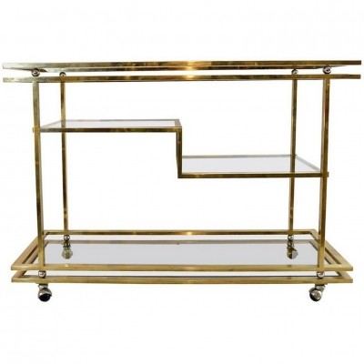 Large Four Tiered Bar Trolley In Brass, Italy 1970s