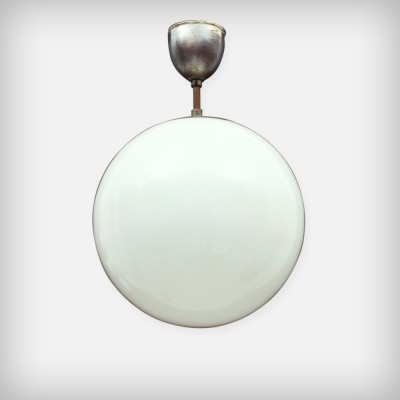 Round Opal Glass & Metal Lamp, 1950s