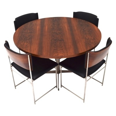 Round brazilian rosewood dining set by Cees Braakman for Pastoe