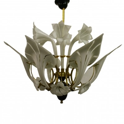 Murano glass canna lily chandelier, 1960s