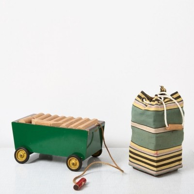 Ko Verzuu Kids Cubes Cart + Toy Bag with Cubes by ADO, 1950s