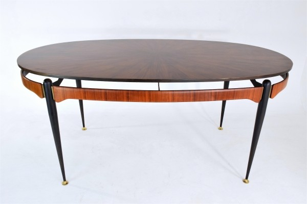 Circular Rosewood Dining Table, Italy 1950's