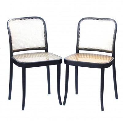 Pair of model 811 dinner chairs by Josef Hoffmann for Ton Czechoslovakia, 1970s