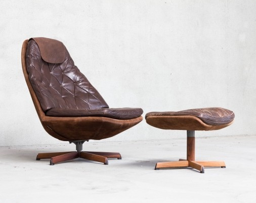 Leather Patchwork Swivel Chair by Madsen & Schubell for Bovenkamp