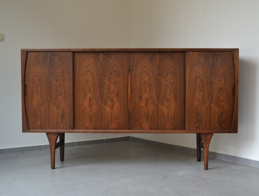 Stunning rosewood highboard by Henning Kjærnulf for Bruno Hansen, Denmark 1955