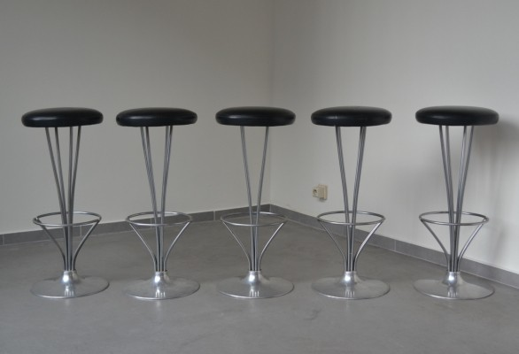 Set of 5 bar stools by Piet Hein for Fritz Hansen, Denmark 1986
