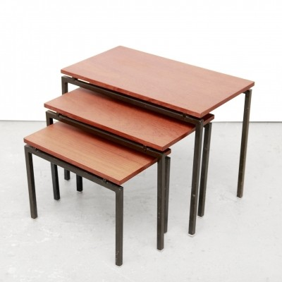Minimalist teak side tables, 1960s