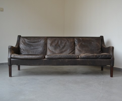 Brown leather three-seater sofa from Denmark, 1960's