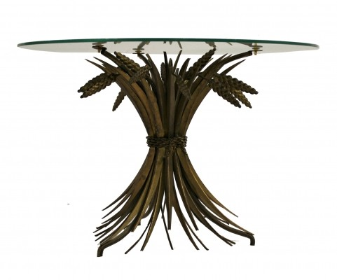 Vintage gilt metal sheaf of wheat / coco chanel side table