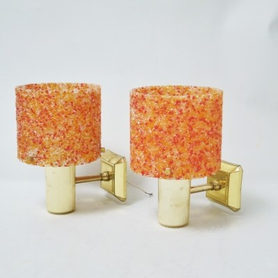 Pair of orange wall lamps, 1970s