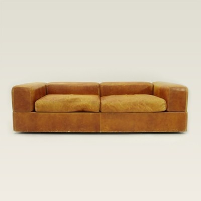 Sofa bed 711 in brown leather by Tito Agnoli for Cinova, 1960's