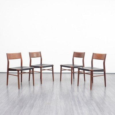 Set of four teak & black leather dining chairs by Georg Leowald for Wilkhahn