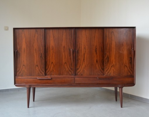 Impressive rosewood highboard by Gunni Omann for Omann Jun, 1960's