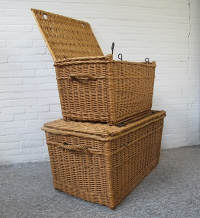 Two big rattan baskets from the sixties