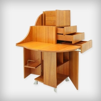 Transformable Dutch Cherrywood 'De Cube' Secretary by Arend van Ast, 1998