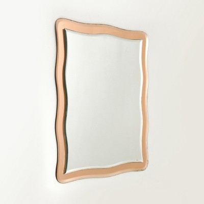 Italian Wall mirror with pink mirror frame, 1970s