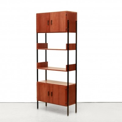 Vintage design cabinet in teak & black metal