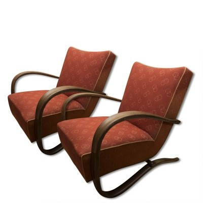 Pair of H-269 arm chairs by Jindřich Halabala, 1940s