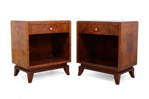 French Art Deco Bedsides in Thuya, c1925