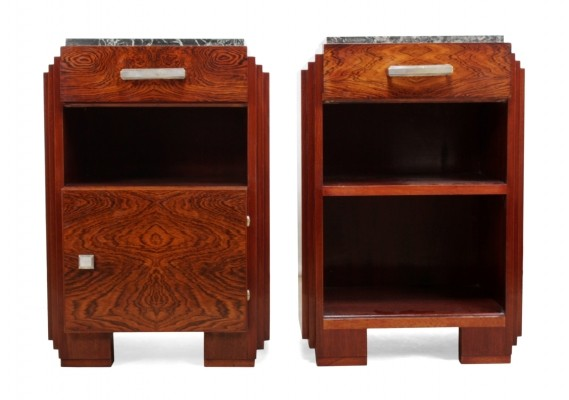 Art Deco Bedside Cabinets with Marble Tops, c1920