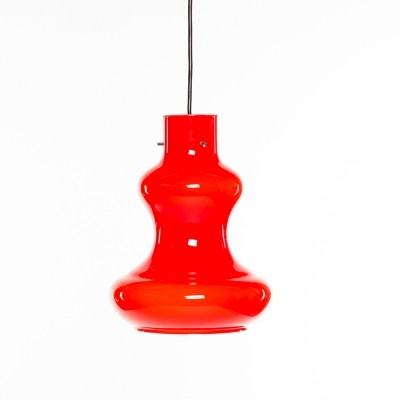 Vintage red Italian design Massimo Vignelli Murano glass lamp
