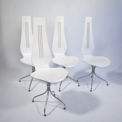 Set of 4 Lyre M352 dining chairs by Theo Häberli, 1970s