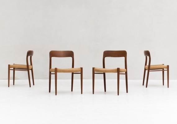 Set of 4 'Model 75' dining chairs by Niels Otto Moller for J.L. Moller, Denmark 1950