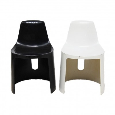 Set of White & Black Fiberglass Chairs, 70s