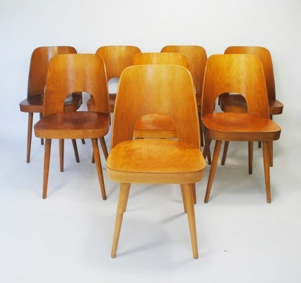 Set of 8 dining chairs by Oswald Haerdtl for Thonet, 1950s