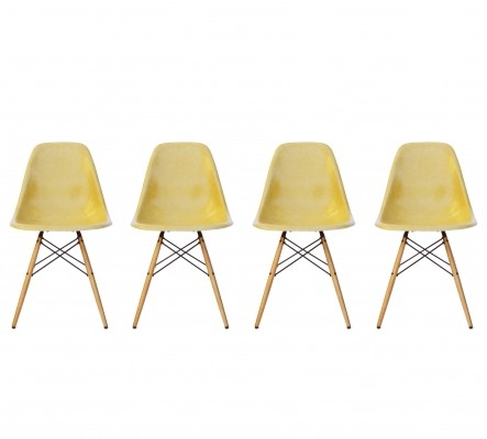 Set of 4 Eames Ochre DSW Dining Chairs with Vitra Maple Bases