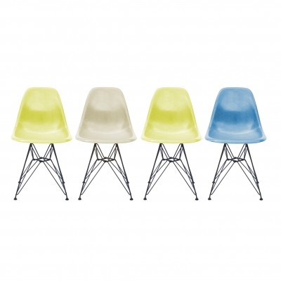Set 4 vintage Eames Fiberglass Dining Chairs with genuine Vitra Eiffel Bases