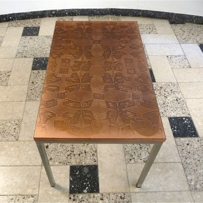 German Copper Coated Side Table by Opal, 1960s