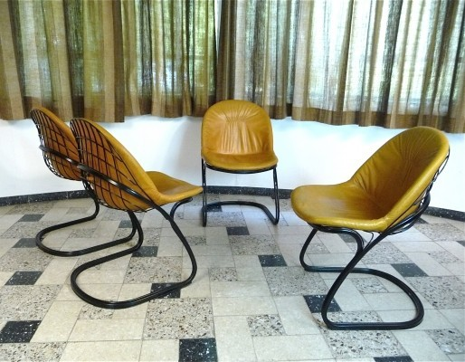 Pascale Leather Wire Dining Chairs by Gastone Rinaldi for Thema Italy, 1970