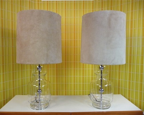 Large German Glass & Chrome Table Lamps by Richard Essig, 1960s