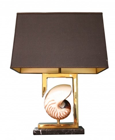 Brass nautilus shell table lamp, 1970s